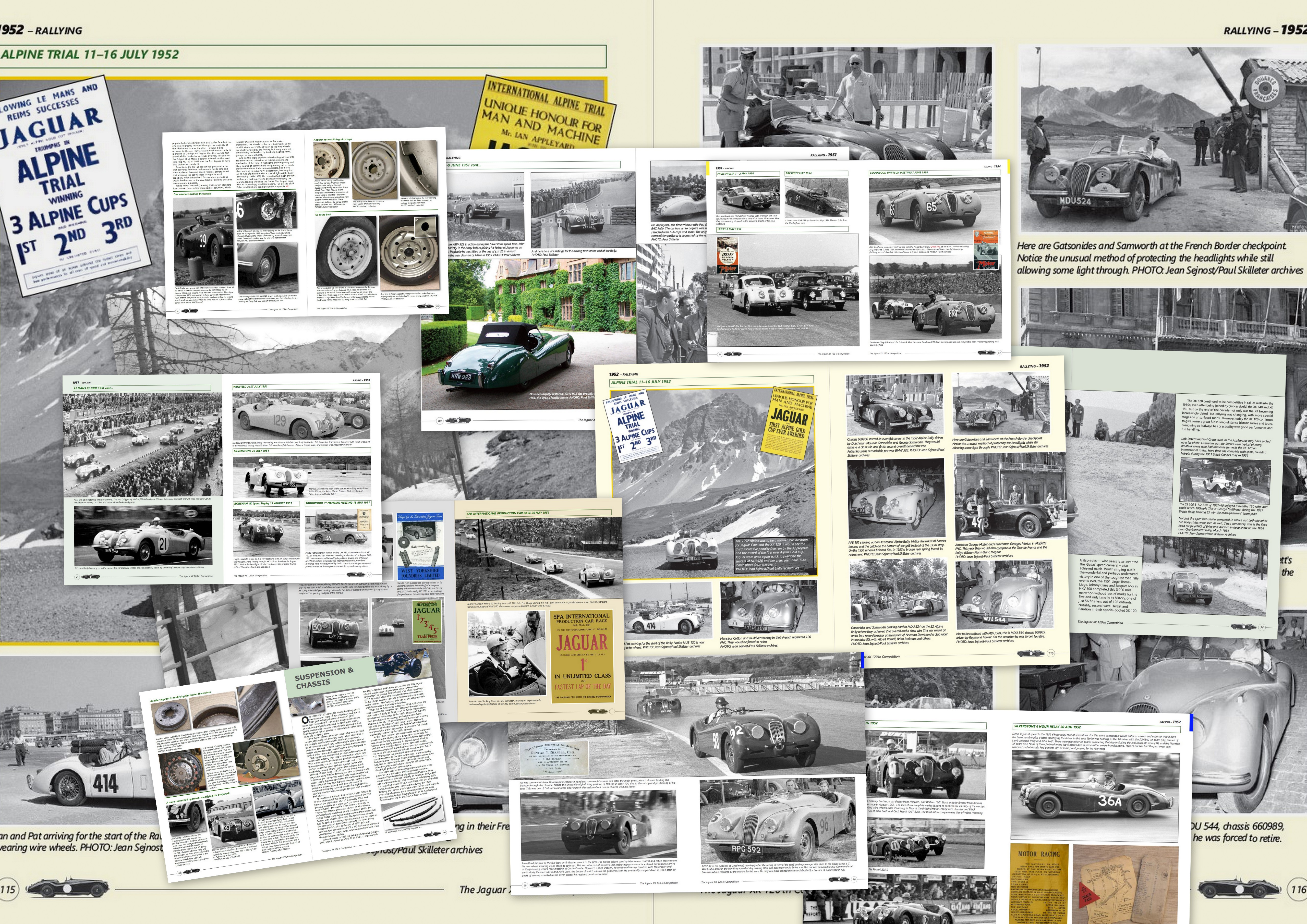 A collage of pages from The Jaguar XK 120 in Competition